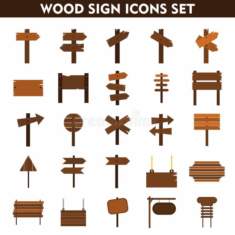Drewno szyldowe ikony ustawiać na białym tle ilustracja wektor