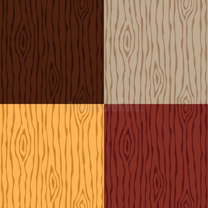 Drewno tekstury zbożowy set drewniane bezszwowy wzoru abstrakcyjny tło royalty ilustracja