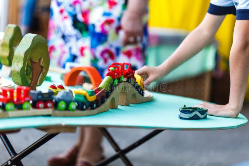 Drewno zabawki pociągu set zdjęcie stock