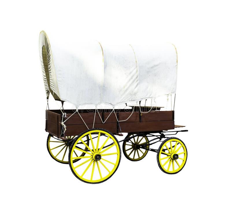 Drewno zakrywający furgon z baryłką odizolowywającą obraz royalty free