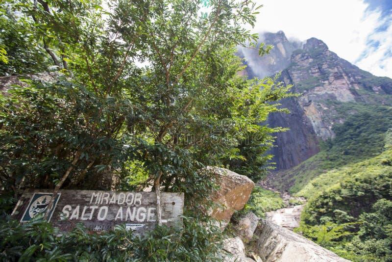 Drewno znak przy Mirador Salto anioł obrazy royalty free