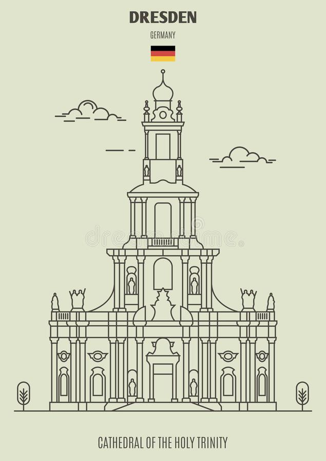 Drezdeńska katedra Święta trójca, Niemcy Punkt zwrotny ikona ilustracja wektor