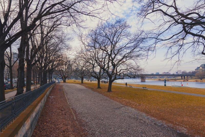 DREZDEŃSKI, NIEMCY, Luty - 2014: Evening krajobraz miasto fotografia royalty free