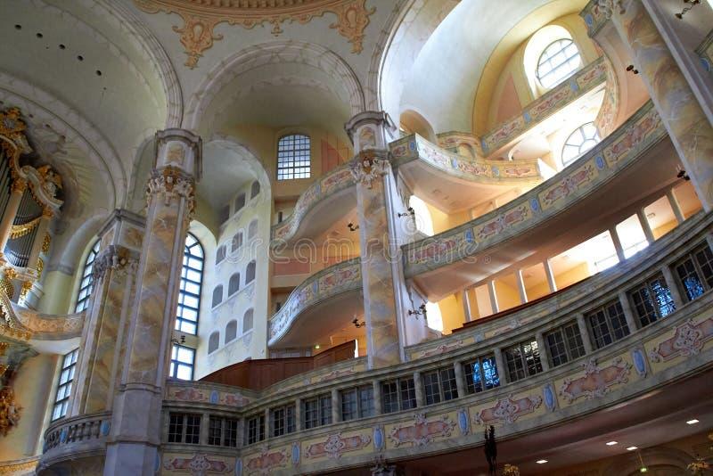 Drezdeński, Niemcy, Październik - 10, 2018: Wewnętrzny widok Drezdeński Frauenkirche Luterański kościół w Drezdeńskim Sightseeing obraz stock