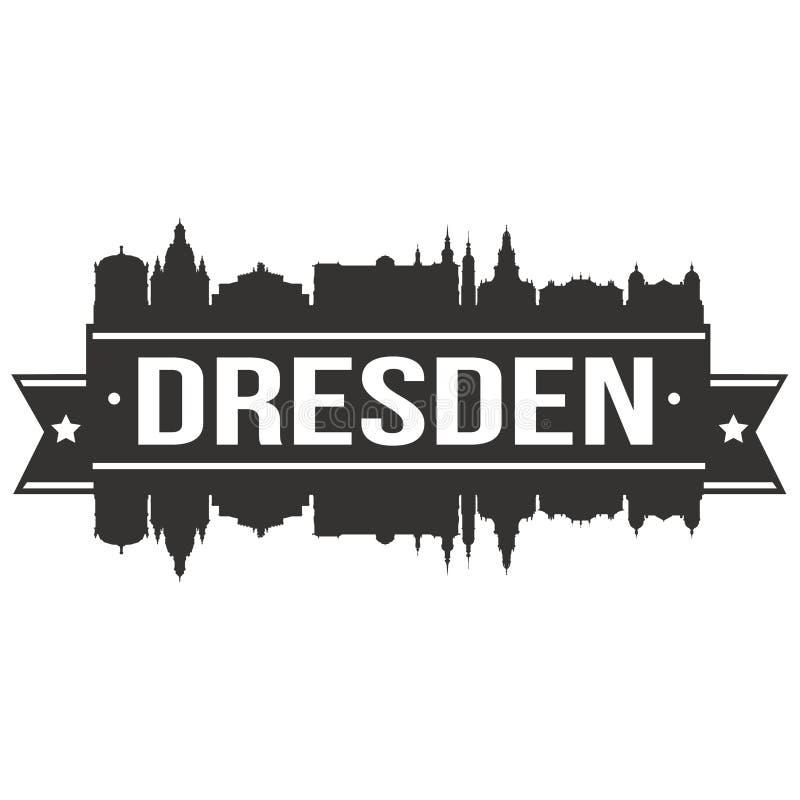 Drezdeńskiej Niemcy Europa ikony sztuki projekta linii horyzontu miasta Euro Wektorowej Płaskiej sylwetki Editable szablon ilustracja wektor