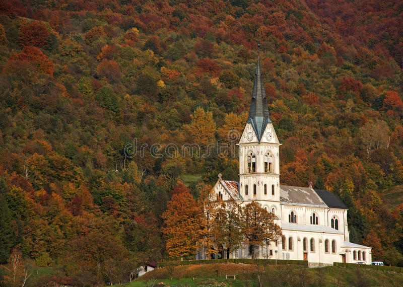 Dreznica church stock photo