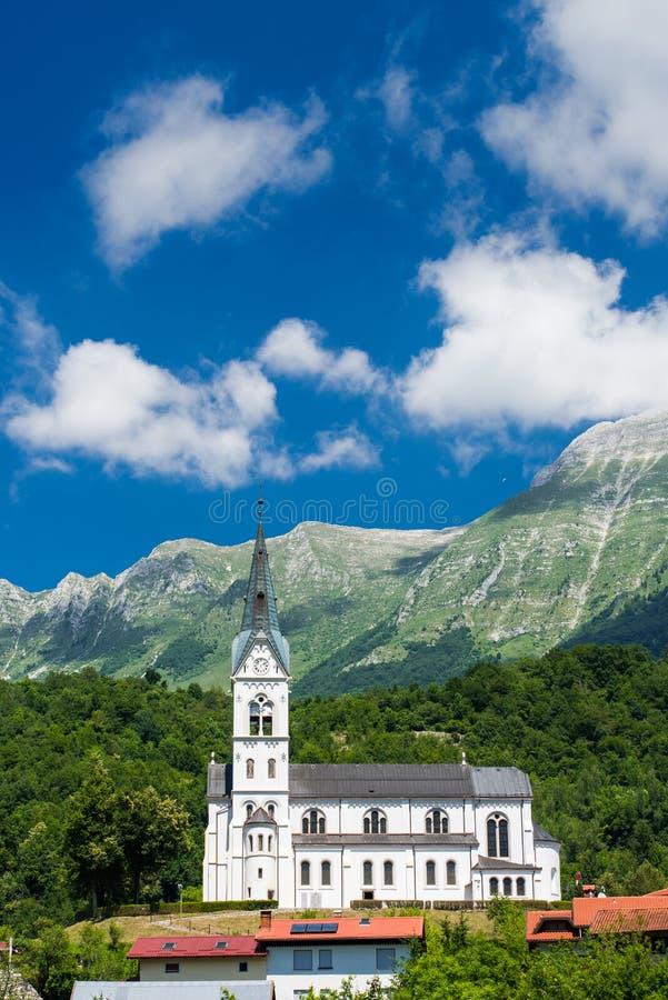Dreznica church under Julian Alps in Triglav Park, Slovenia.  stock photography