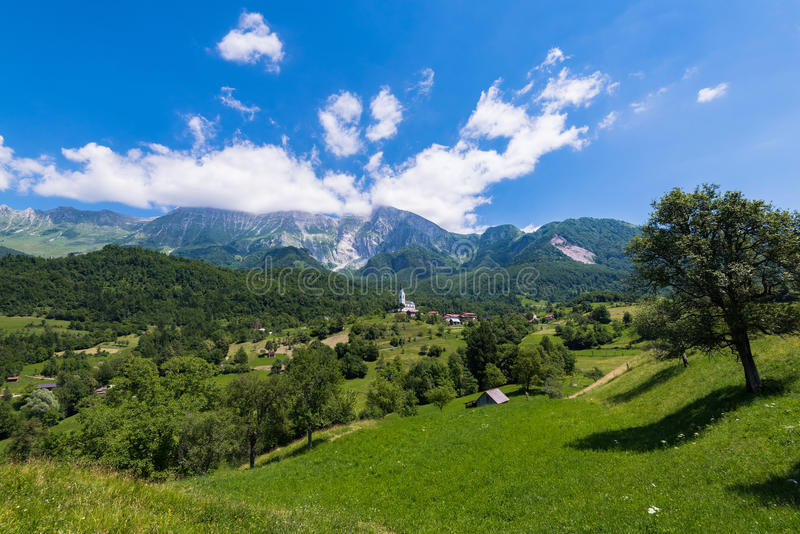 Dreznica village at summer in Slovenia Alps.  royalty free stock photo