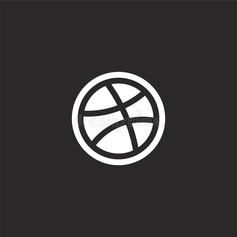 Dribbble icon. Filled dribbble icon for website design and mobile, app development. dribbble icon from filled social collection. Isolated on black background stock illustration