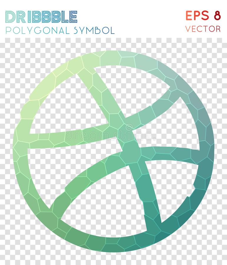 Dribbble polygonal symbol. Alluring mosaic style symbol. popular low poly style. Modern design. dribbble icon for infographics or presentation vector illustration