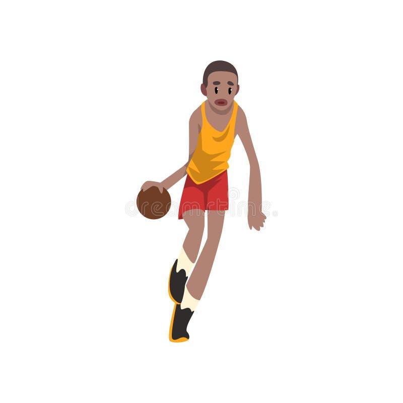 Dribbling för flyttning för basketspelare, idrottsman nen i likformign som spelar med bollvektorillustrationen på en vit bakgrund royaltyfri illustrationer