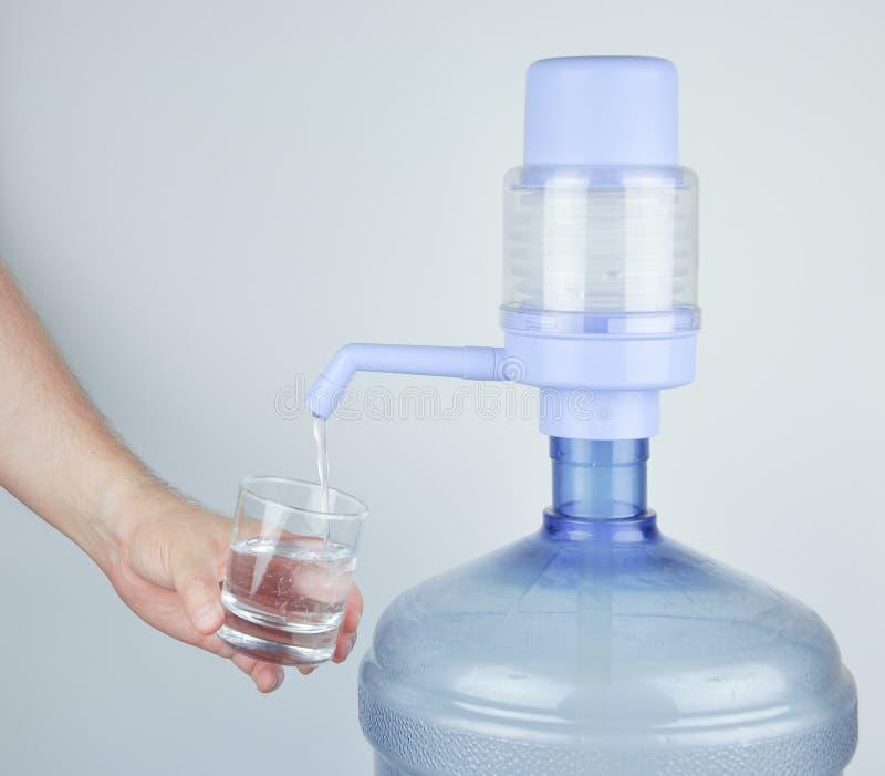 Dricka buteljerat vatten och handbokpumpen royaltyfri fotografi