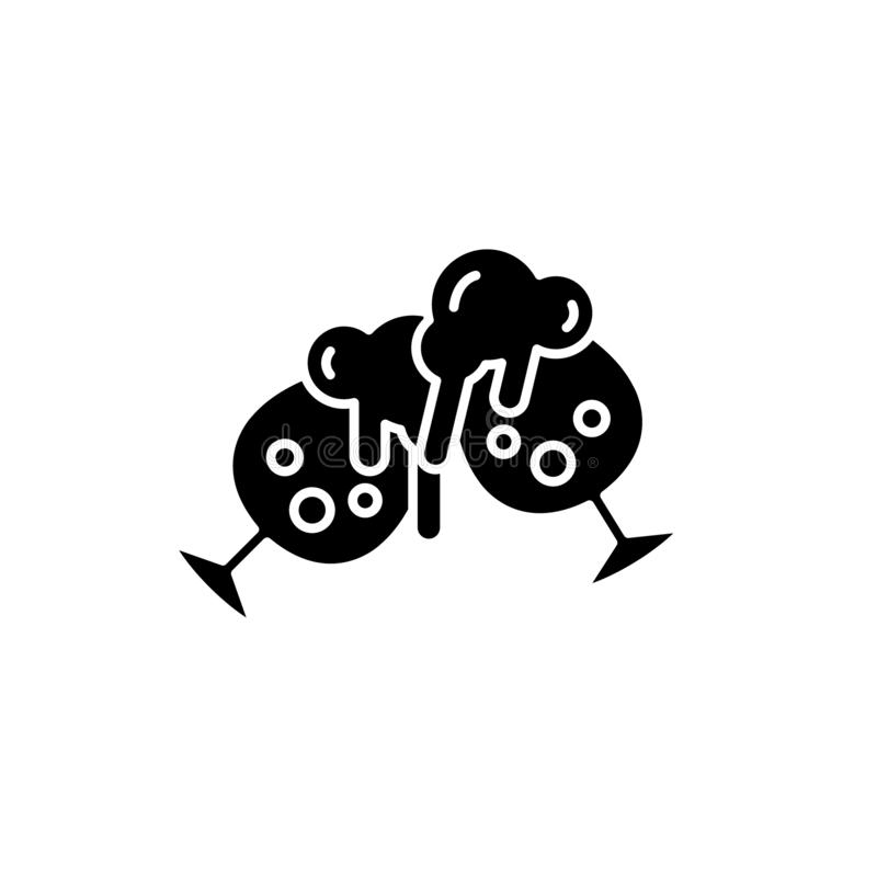 Dricka den svarta symbolen för öl, vektortecken på isolerad bakgrund Dricka ölbegreppssymbol, illustration stock illustrationer