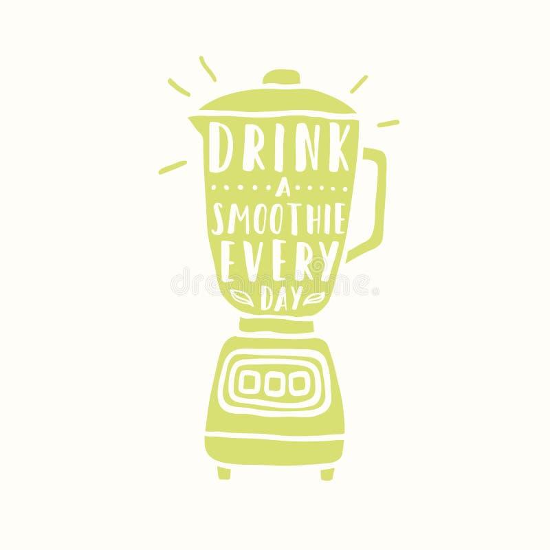 Dricka en daglig smoothie Blandarekontur stock illustrationer