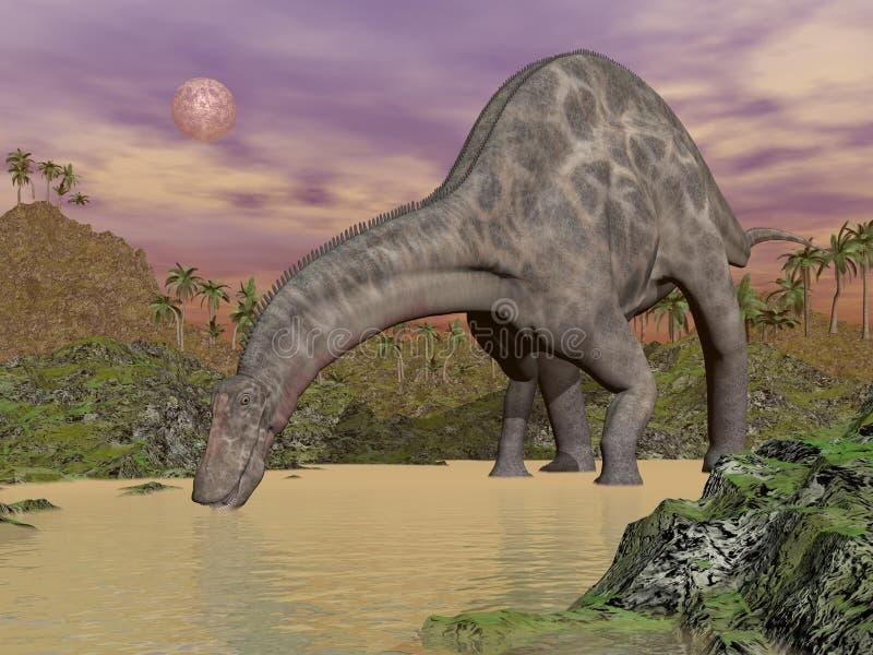 Dricka för Dicraeosaurusdinosaur - 3D framför stock illustrationer