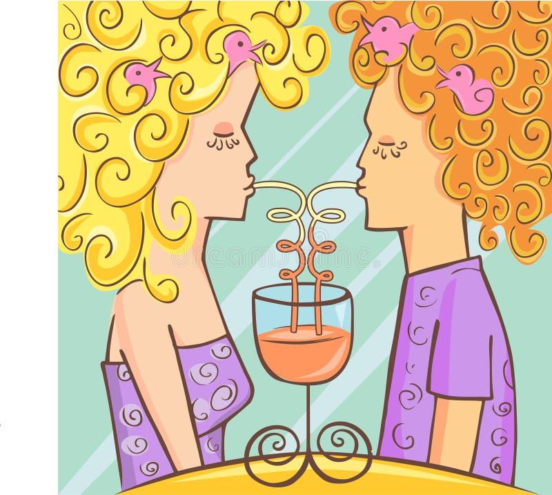 dricka för par royaltyfri illustrationer