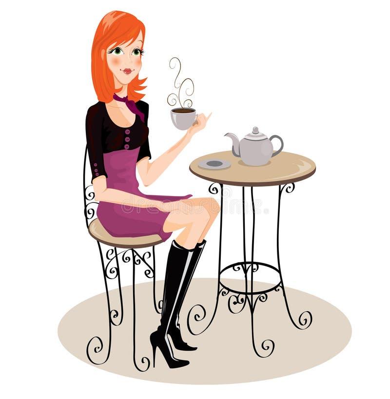 dricka flicka för kaffe stock illustrationer