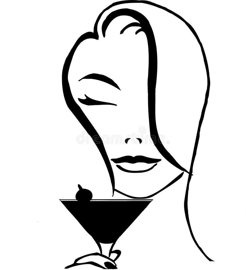 dricka kvinna för coctail stock illustrationer
