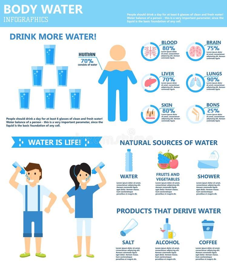 Dricka mer symboler för vektor för källor för kroppvatteninfographics naturliga royaltyfri illustrationer