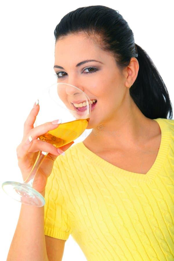 dricka nätt winekvinna royaltyfri foto