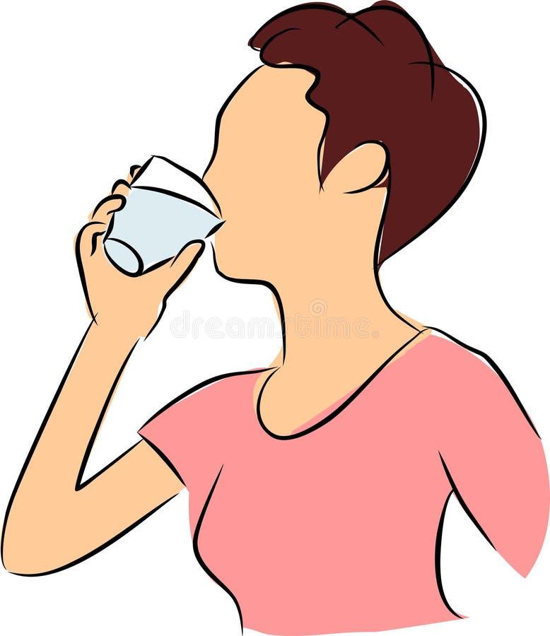 dricka törstigt vatten royaltyfri illustrationer