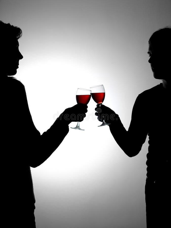 dricka vine för par arkivbilder