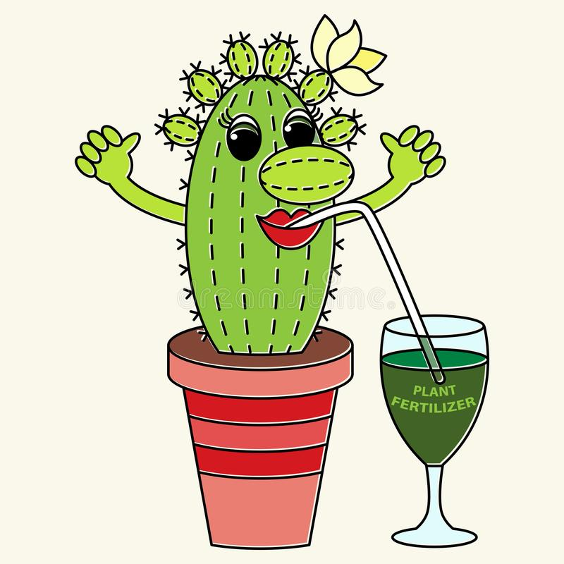 Dricker den roliga färgrika kaktuns för tecknade filmen en gödningsmedel Passande för stock illustrationer