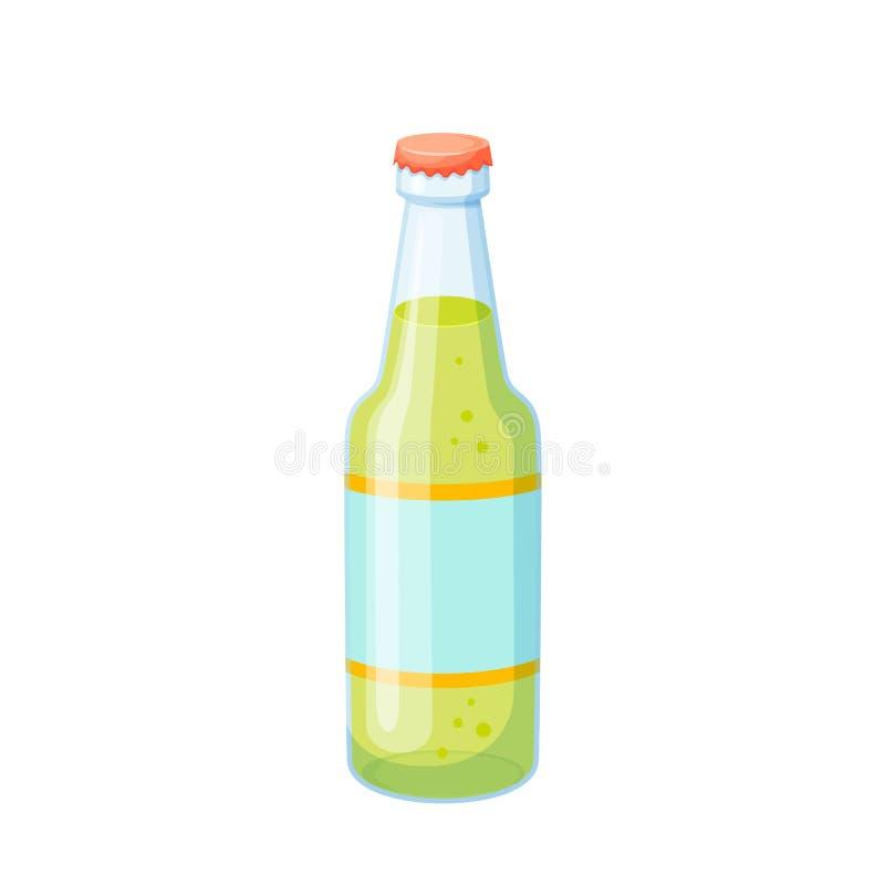 Dricker glasflaskan stock illustrationer