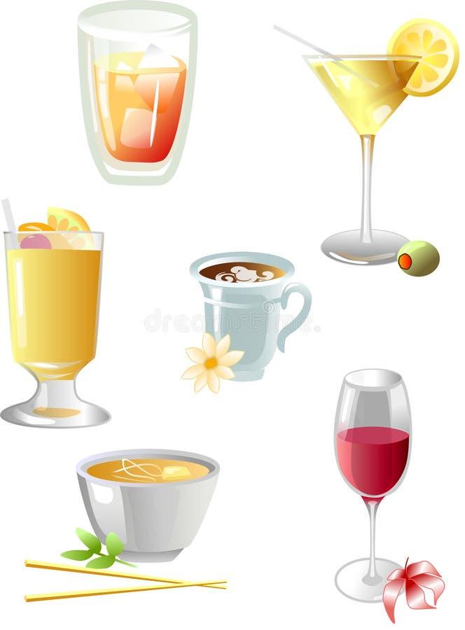 dricker symboler stock illustrationer