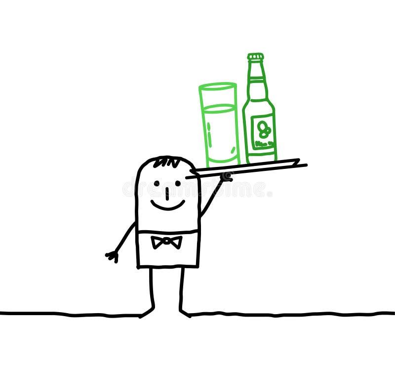 dricker uppassaren royaltyfri illustrationer