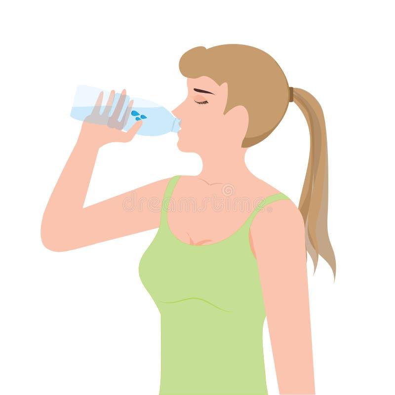 Dricksvatten för ung kvinna från plast- flaskor stock illustrationer