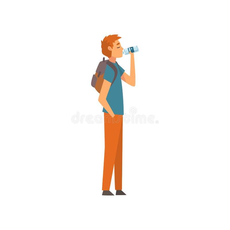 Dricksvatten för ung man från den plast- flaskan, grabb med ryggsäcken som tycker om att dricka av den nya vektorn för rent vatte vektor illustrationer