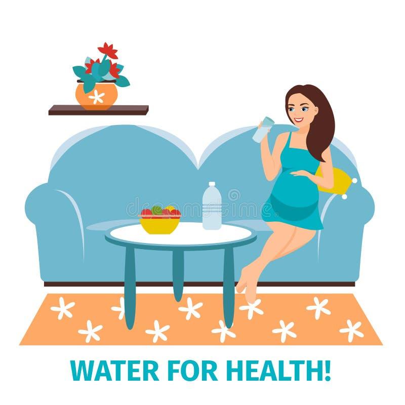 dricksvatten Gravid lycklig kvinna med ett exponeringsglas Begreppet av att dricka rent vatten Sund livsstil annonsering vektor illustrationer