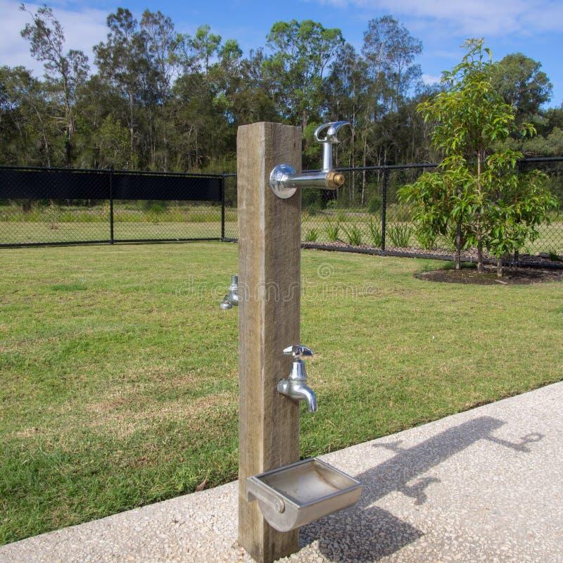 Dricksvattenspringbrunnen för hund för hundkapplöpning parkerar offentligt arkivbild