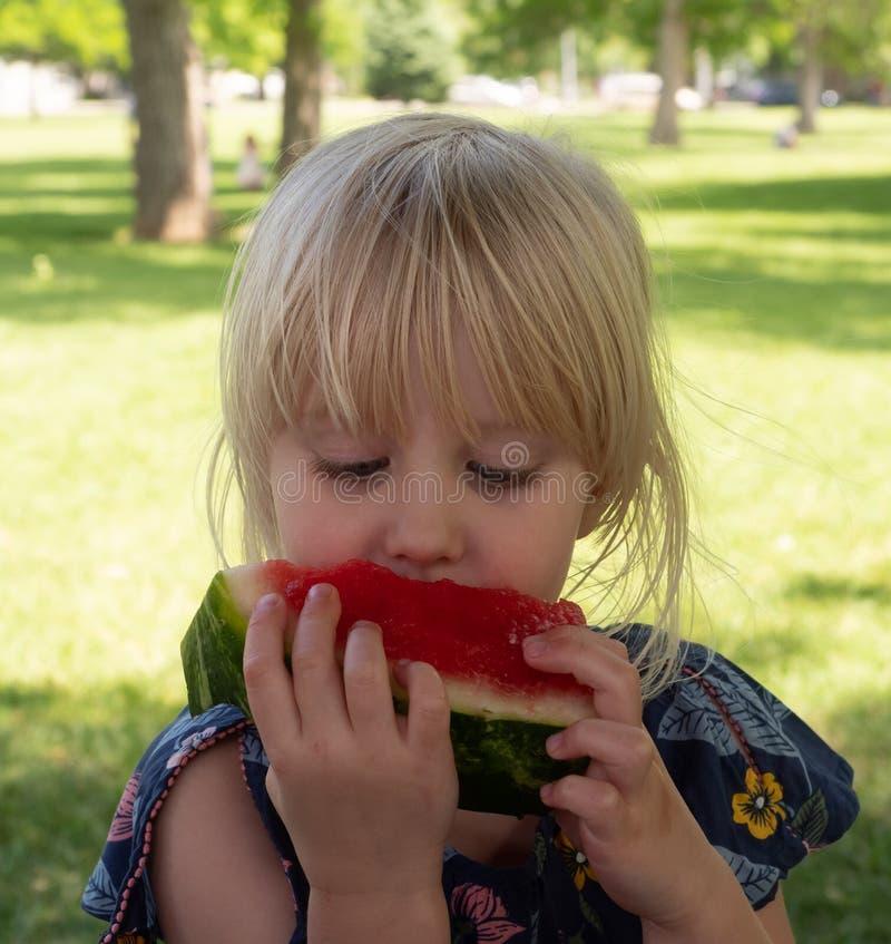 Drie Éénjarigen Kaukasisch Meisje die Watermeloen in een Park eten stock afbeeldingen