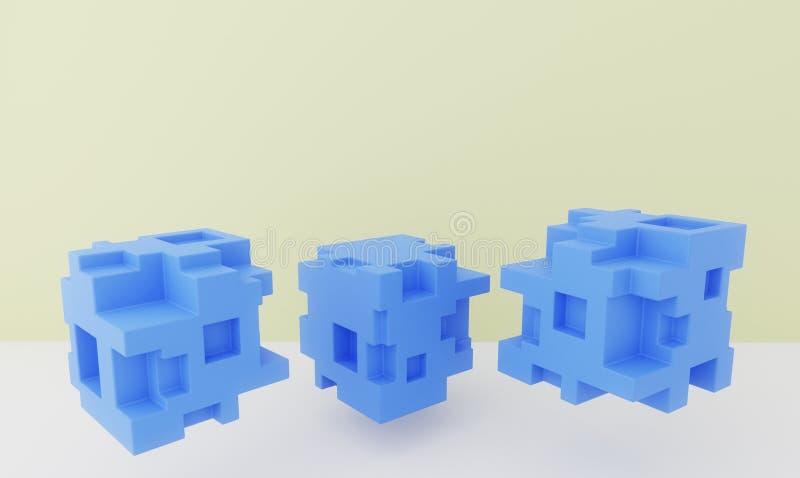 Drie abstracte kubussen in de lucht voetstukken het 3d teruggeven stock illustratie