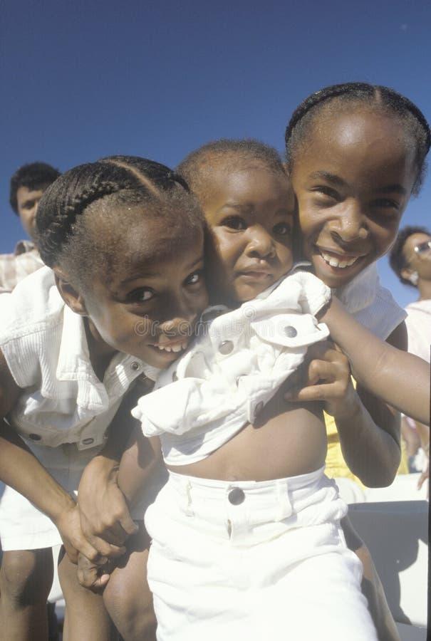 Drie Afrikaans-Amerikaanse zusters, Watts, Los Angeles, CA royalty-vrije stock foto
