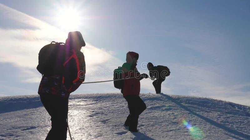 Drie Alpenists beklimmen kabel op sneeuwberg De toeristen werken samen als team schuddende hoogten die moeilijkheden overwinnen stock afbeelding