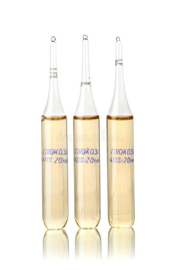 Download Drie ampulas met glucose stock foto. Afbeelding bestaande uit tegengif - 29500176