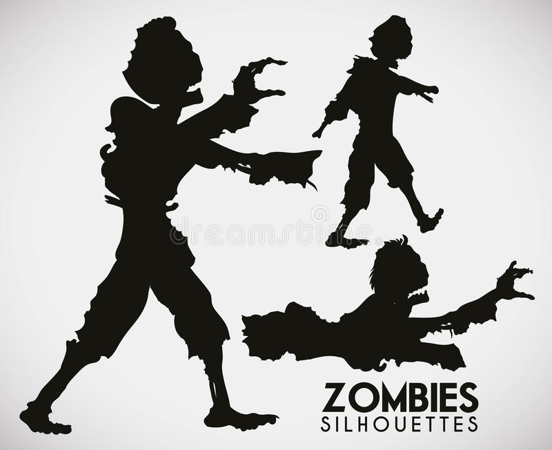 Drie angst aanjagende Zombiesilhouetten, Vectorillustratie vector illustratie