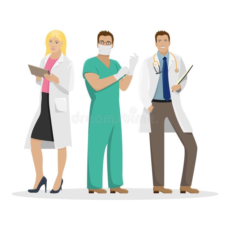Drie artsen in het werkkleren Medische vectorillustratie vector illustratie