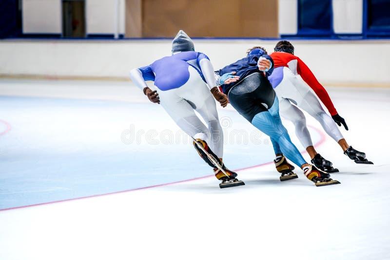 Drie atleten die op de arena van ijssporten schaatsen stock fotografie