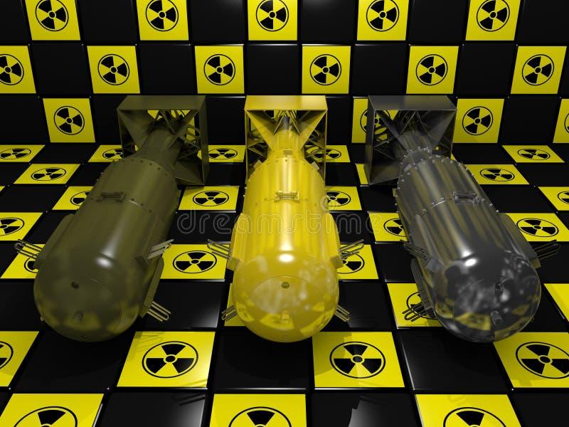 Drie Atoombommen stock illustratie