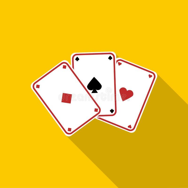 Drie azen, speelkaartenpictogram, vlakke stijl stock illustratie