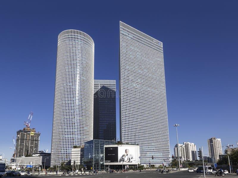 Drie Azrieli-torens in Tel Aviv stock foto