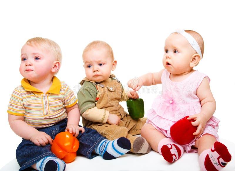 Drie babyvrienden stock foto