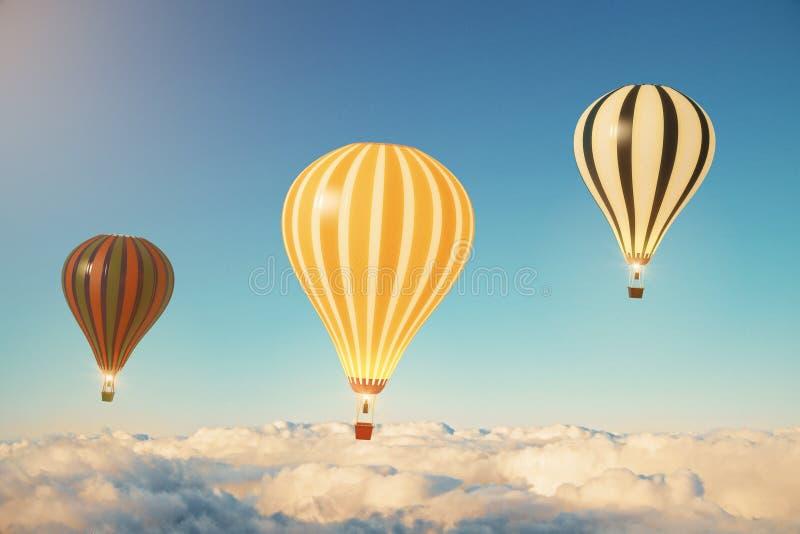 Drie ballons boven de wolken bij zonsondergang royalty-vrije stock foto