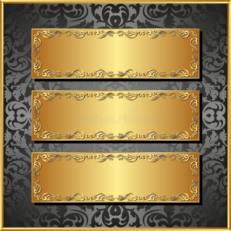 Drie banners stock illustratie