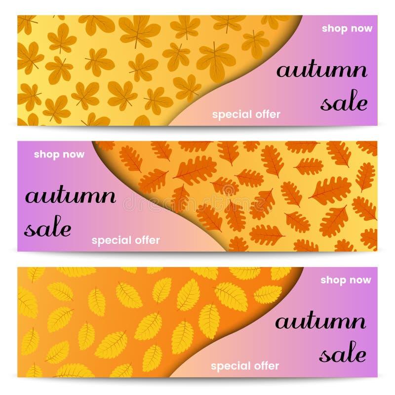 Drie banners van de de herfstverkoop met gele bladeren vector illustratie