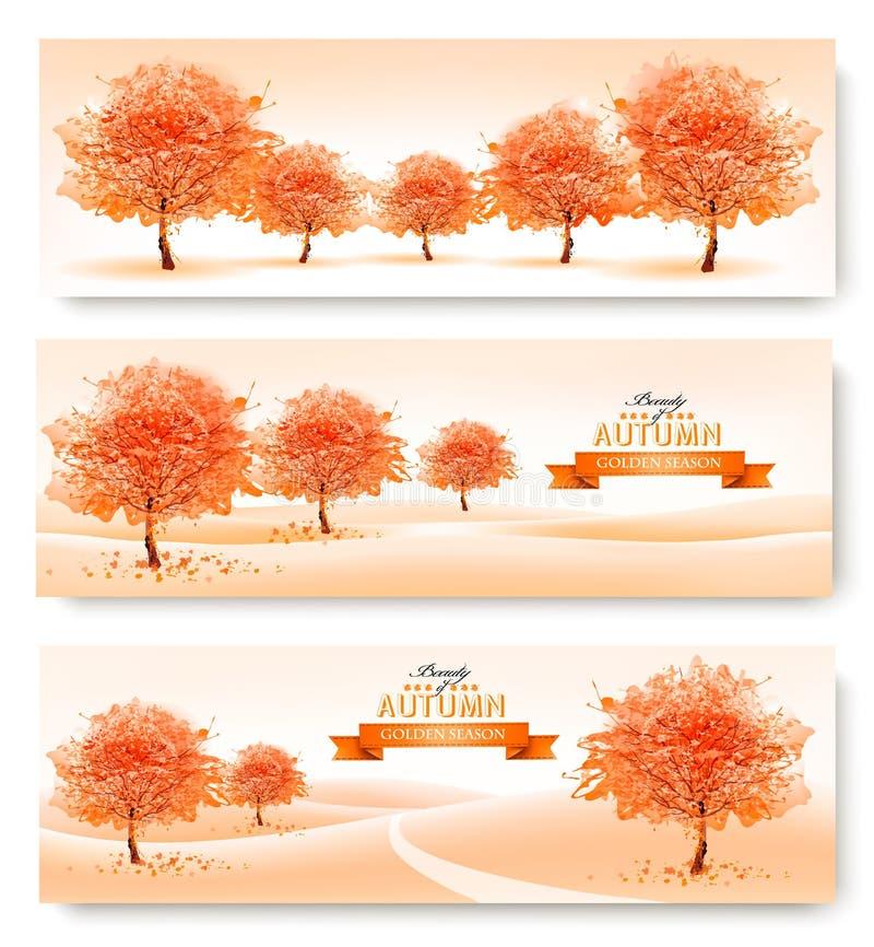 Drie banners van de landschapsherfst stock illustratie